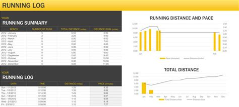 daily exercise  running log templates