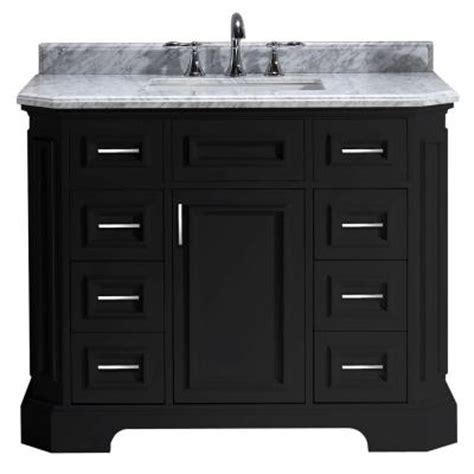 Bristol Vanity by Bristol 42 In Vanity In Black With Marble Vanity Top In Carrara White Pebristol42b The Home Depot