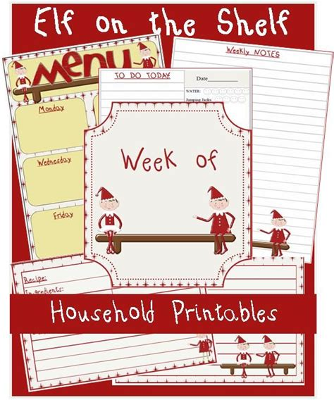 printable elf on the shelf worksheets menu plan monday free elf on the shelf household printables