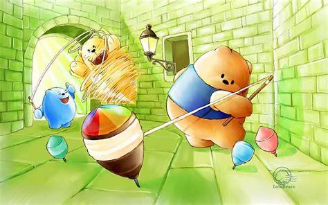 windows 7 theme cartoon characters wallpaper huang li fun with spinning top playful cartoon bears wallpapers 3