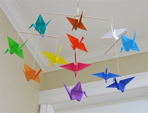 Origami Crane Decoration - origami crane mobile rainbow modern baby room decor