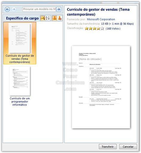 Modelo Curriculum Vitae Microsoft Word Como Fazer Um Curriculum Vitae O Microsoft Word 2007 Como Fazer Um Curriculum