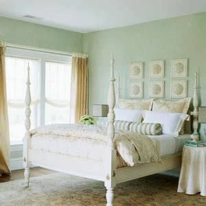 seafoam green and gold bedroom