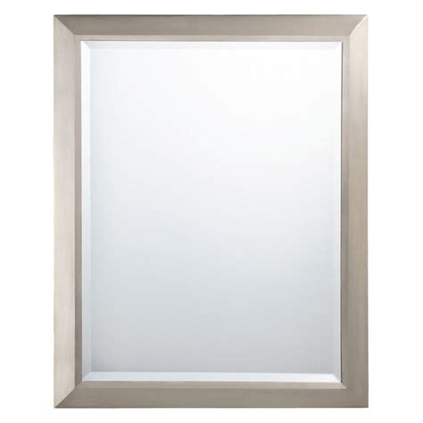 Rectangular Brushed Nickel Wall Mirror 24w X 30h In Www Large Bathroom Mirrors Brushed Nickel