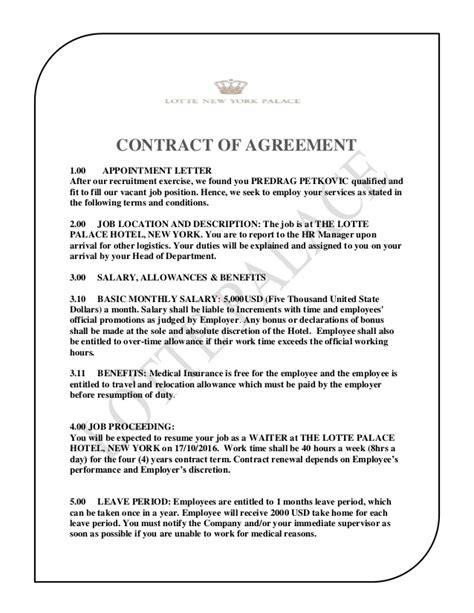 the lotte palace hotel contract of agreement predrag