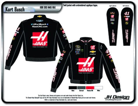 design your own nascar jacket 2015 kurt busch haas mens black twill nascar jacket by jh