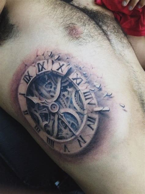 pinterest tattoo clock old clock 3d tattoo on body side dubuddha org clock