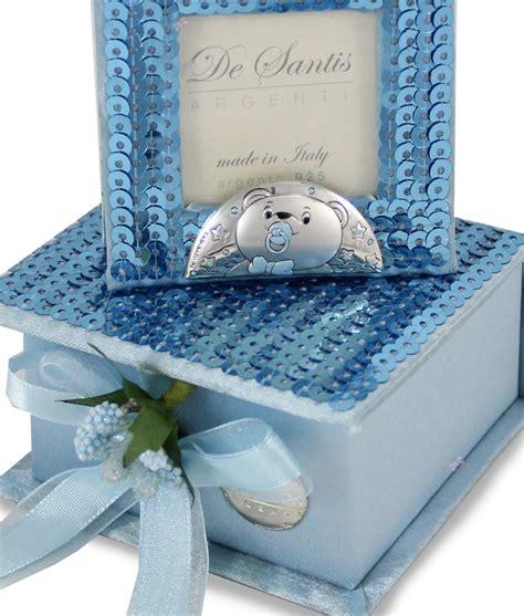 cornice argento battesimo bomboniera cofanetto cornice azzurro argento