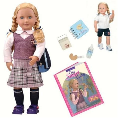our generation new doll with book hally/one smart cookie
