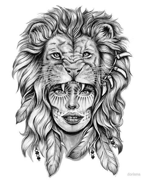 girl lion tattoo designs with by doriana tattoos