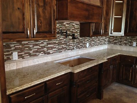 Granite Countertops With Glass Tile Backsplash by Backsplash On Granite Countertop Home Design Interior