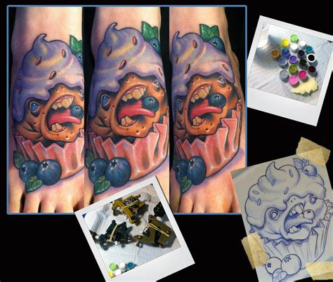 cream tattoo st cloud mn blueberry cupcake monster tattoo by scotty munster