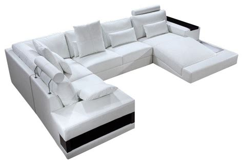 modern u shaped sectional sofa diamond modern white leather quot u quot shaped sectional sofa