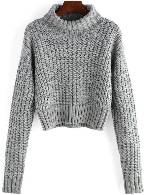 Sweater Grey Cat turtleneck sleeve crop grey sweaterfor romwe