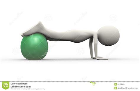 Yoga Ball For Desk 3d Man Stability Ball Fitness Practice Stock Illustration