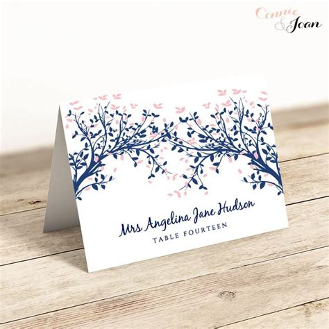 folded name place cards template any colour leaves printable place name cards editable