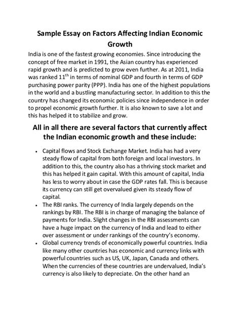 Economic Growth Essay by Sle Essay On Factors Affecting Indian Economic Growth