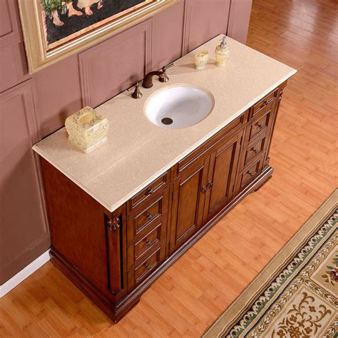 silkroad 58 inch antique single sink bathroom vanity cream