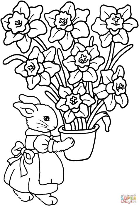 coloring page iris bunny with iris vase coloring page free printable