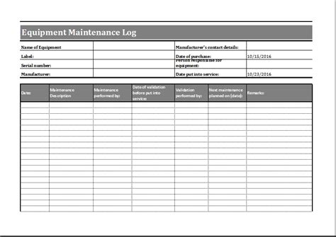 equipment replacement plan template equipment maintenance schedule template excel printable