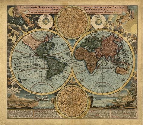 1716 vintage world map reproduction rolled canvas print