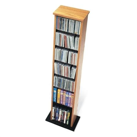 dvd storage tower 51 quot slim multimedia cd dvd storage tower in oak and black