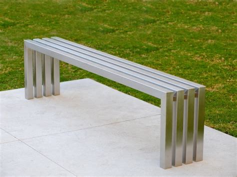 outdoor bench modern linear stainless steel bench sarabi studio austin tx