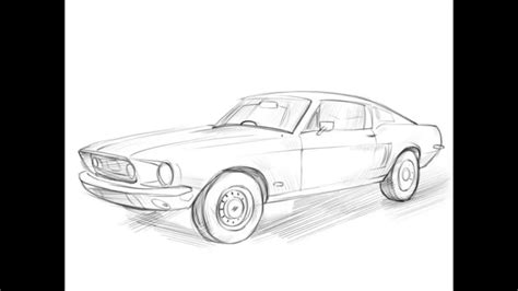 mustang drawing how to draw a ford mustang