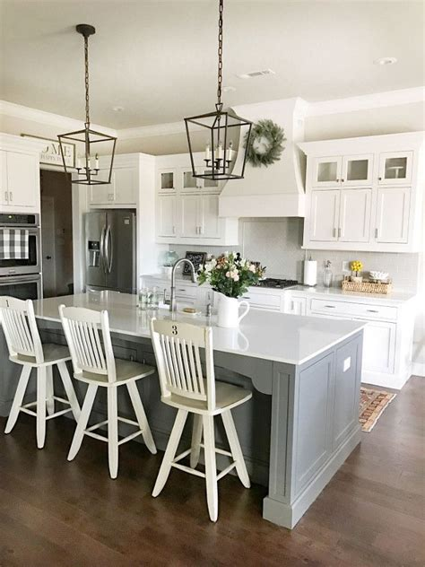 Farmhouse Kitchen Island Lighting Best 25 Gray Island Ideas On Pinterest Gray And White Kitchen Grey Kitchens And Kitchen Reno