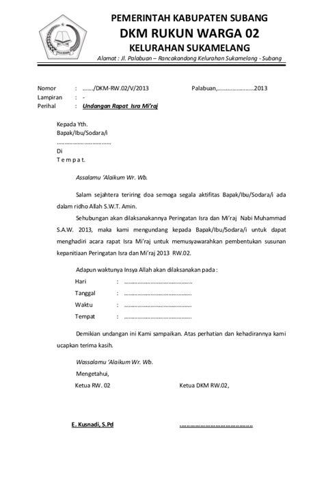 Contoh Notulen Rapat Sosialisasi Di Pabrik by Undangan Rapat Isra Mi Raj Rw 02