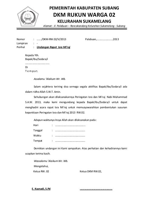 Tips Menjadi Notulen by Undangan Rapat Isra Mi Raj Rw 02