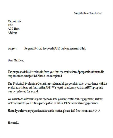 10 bid rejection letter templates free premium templates