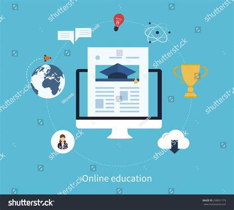 online education illustration flat design illustration flat design modern vector illustration icons set of online
