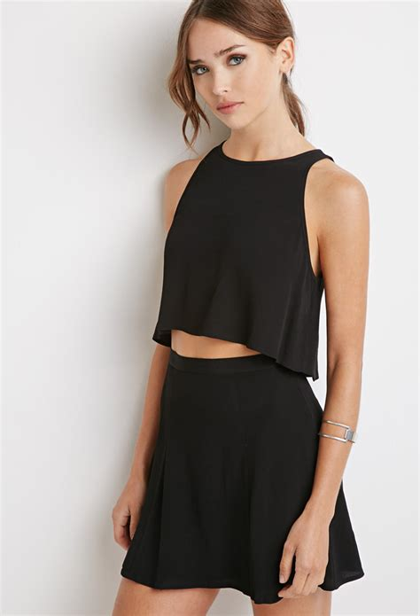 Shirt Bag Skirt Set lyst forever 21 crepe crop top and skirt set in black