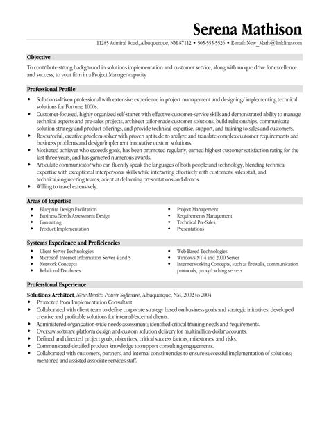 Project Manager Resume Objective by Resume Templates Project Manager Project Management