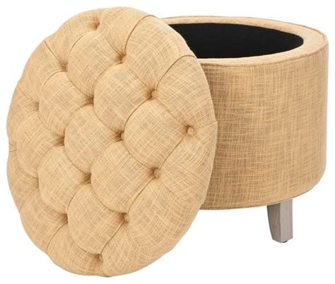 Reims Light Gold Storage Ottoman Contemporary Gold Storage Ottoman