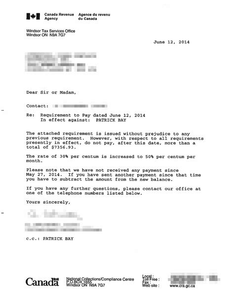 Canada Credit Letter Toronto City 187 The Cra Violates My Rights Again