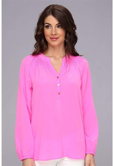 Blouse Batik Lili 1 Pink Silk Blouse Blue Denim Blouses