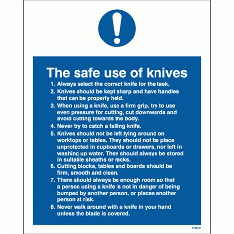 use of knives signs for safety the safe use of knives