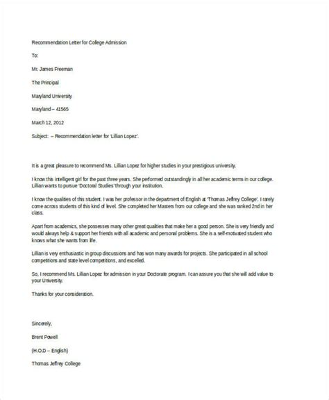 recommendation letter examples samples