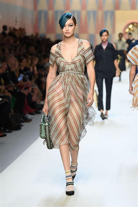 Milan Fashion Week by Gigi Hadid Runway At Fendi Fashion Show During Milan