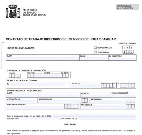 modelo contrato empleadas de hogar 2016 contrato temporal empleada de hogar 2016 tablas
