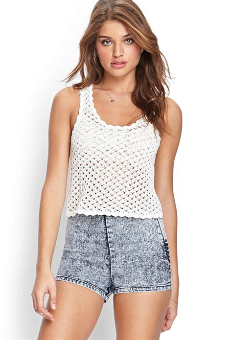 Tangtop Wanita Forever 21 forever 21 crochet knit tank top in white lyst