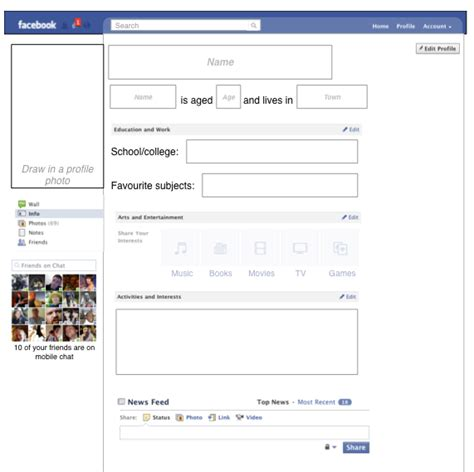 free themes facebook profile 10 best images of blank facebook profile worksheet
