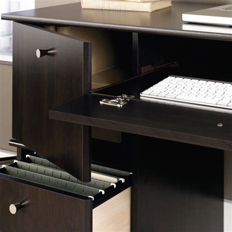 sauder computer desk with keyboard tray computer desk with keyboard tray in cinnamon cherry 408995