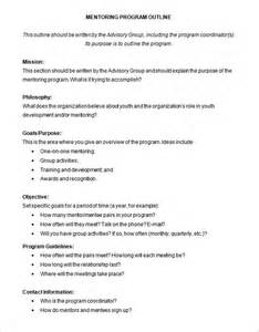 Mentor Program Template by Program Outline Template 8 Free Free Word Pdf Format