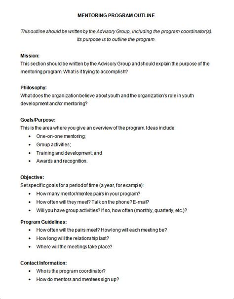 Program Outline Template 8 Free Free Word Pdf Format Download Free Premium Templates Mentorship Program Template