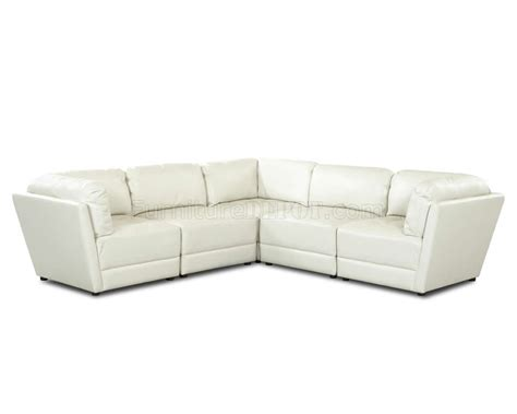 Tufted White Leather Sofa White Bonded Leather Stylish Sectional Sofa W Tufted Seats