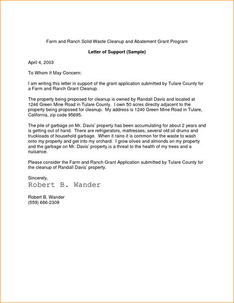 Support Letter How To Letter Of Support Sle Template Learnhowtoloseweight Net