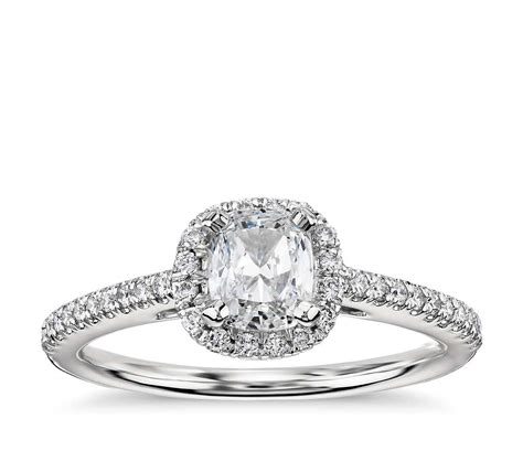cushion cut halo engagement ring in 14k white gold